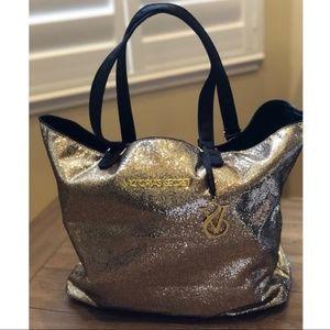 Victoria's Secret Gold Glitter Tote Bag